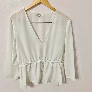 Wilfred white blouse with drawstring waist